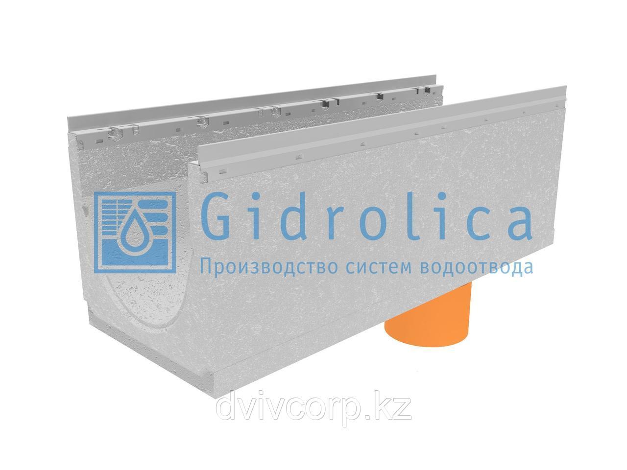 Лоток водоотводный бетонный коробчатый (СО-300мм), с оцинкованной насадкой, с водосливом КUв