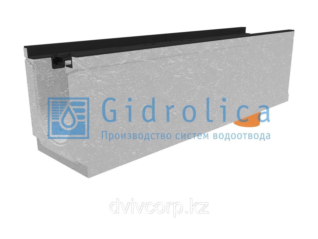 Лоток водоотводный бетонный коробчатый (СО-150мм), с чугунной насадкой, с водосливом КUв 100.24,8