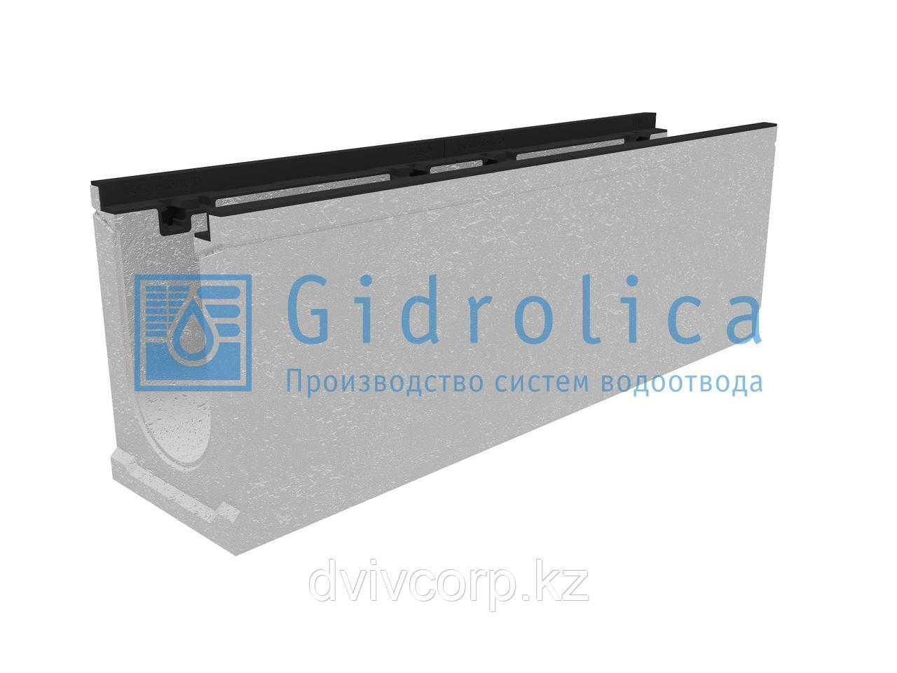 Лоток водоотводный бетонный коробчатый (СО-150мм), с чугунной насадкой КU 100.24,8 (15).34(27,5)-BGZ-S, № 20-0