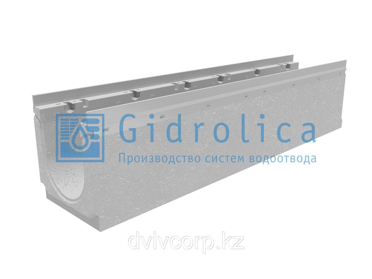 Лоток водоотводный бетонный коробчатый (СО-150мм), с оцинкованной насадкой, с уклоном 0,5%  КUу 100.21,3