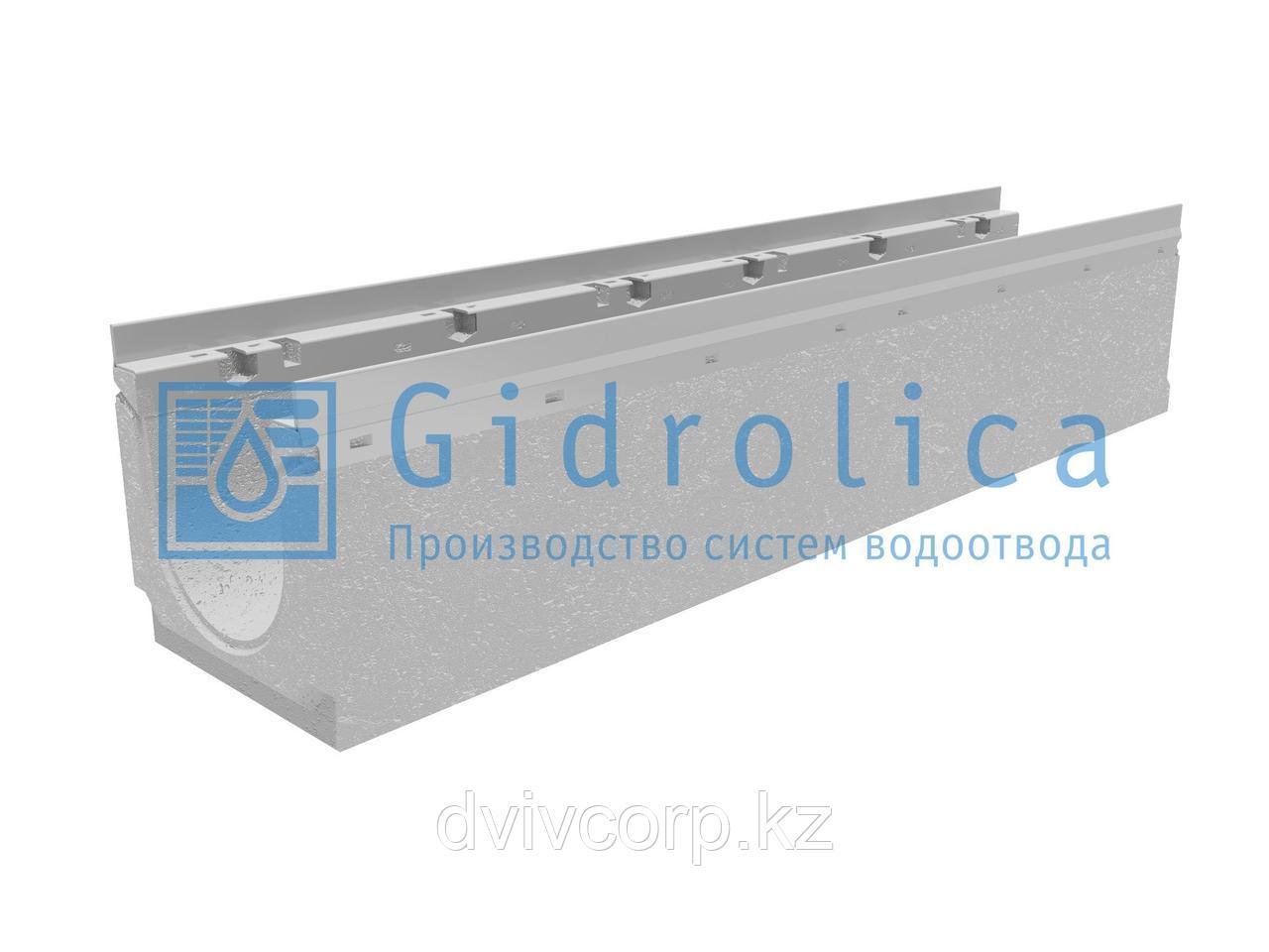 Лоток водоотводный бетонный коробчатый (СО 150 мм), с оцинкованной насадкой, с уклоном 0,5% КUу 100.21,3