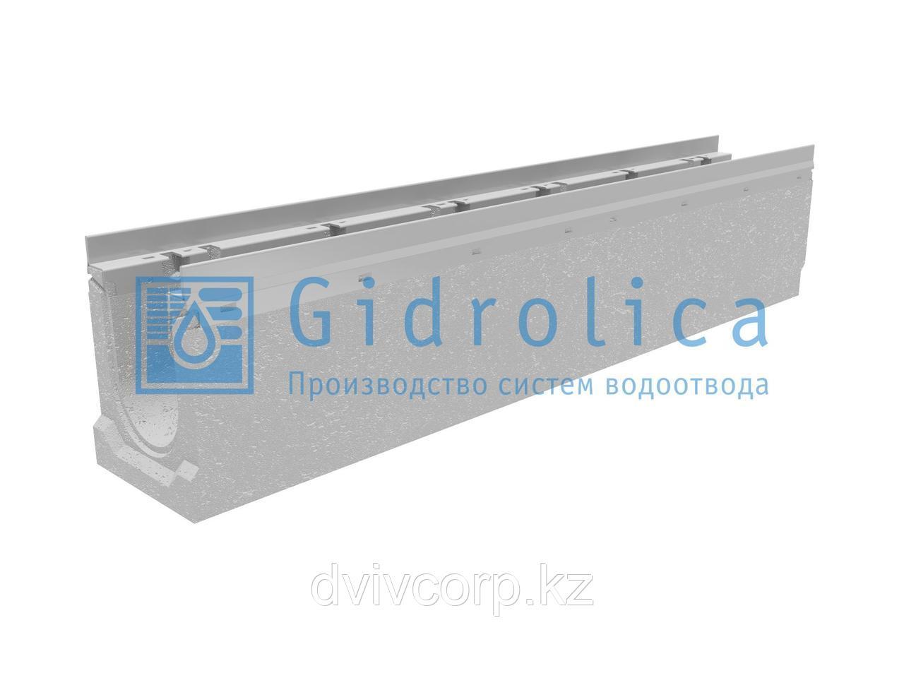 Лоток водоотводный бетонный коробчатый (СО-100мм), с оцинкованной насадкой, с уклоном 0,5%  КUу 100.16,3