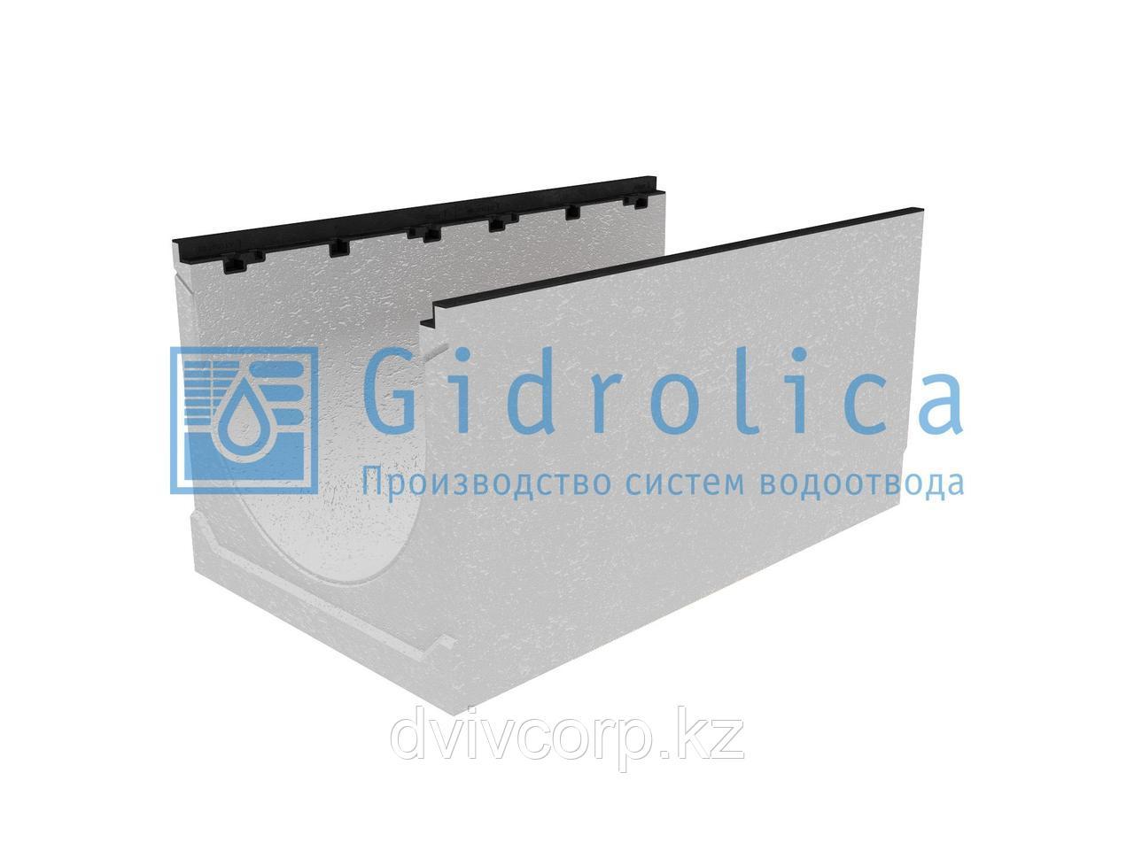 Лоток водоотводный бетонный коробчатый (СО500 мм), с чугунной насадкой, с уклоном 0,5% КUу 100.60,3