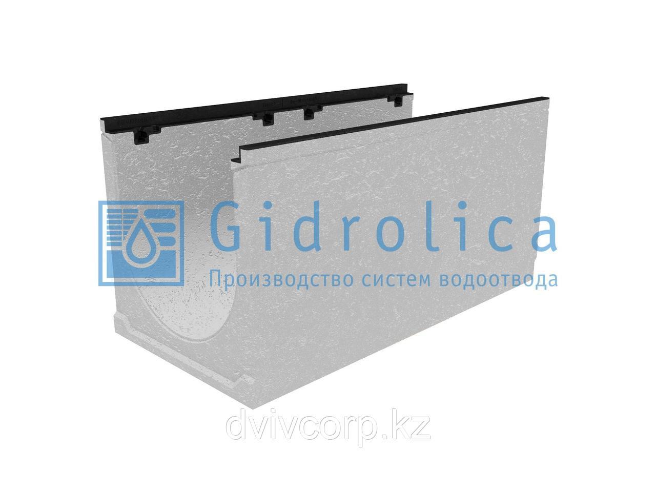 Лоток водоотводный бетонный коробчатый (СО-400мм), с чугунной насадкой, с уклоном 0,5%КUу 100.49,9