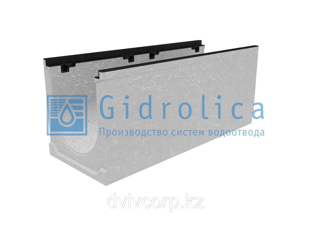 Лоток водоотводный бетонный коробчатый (СО300 мм), с чугунной насадкой, с уклоном 0,5% КUу 100.39,9