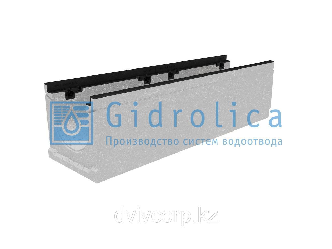 Лоток водоотводный бетонный коробчатый (СО-200мм), с чугунной насадкой, с уклоном 0,5%  КUу 100.29,8