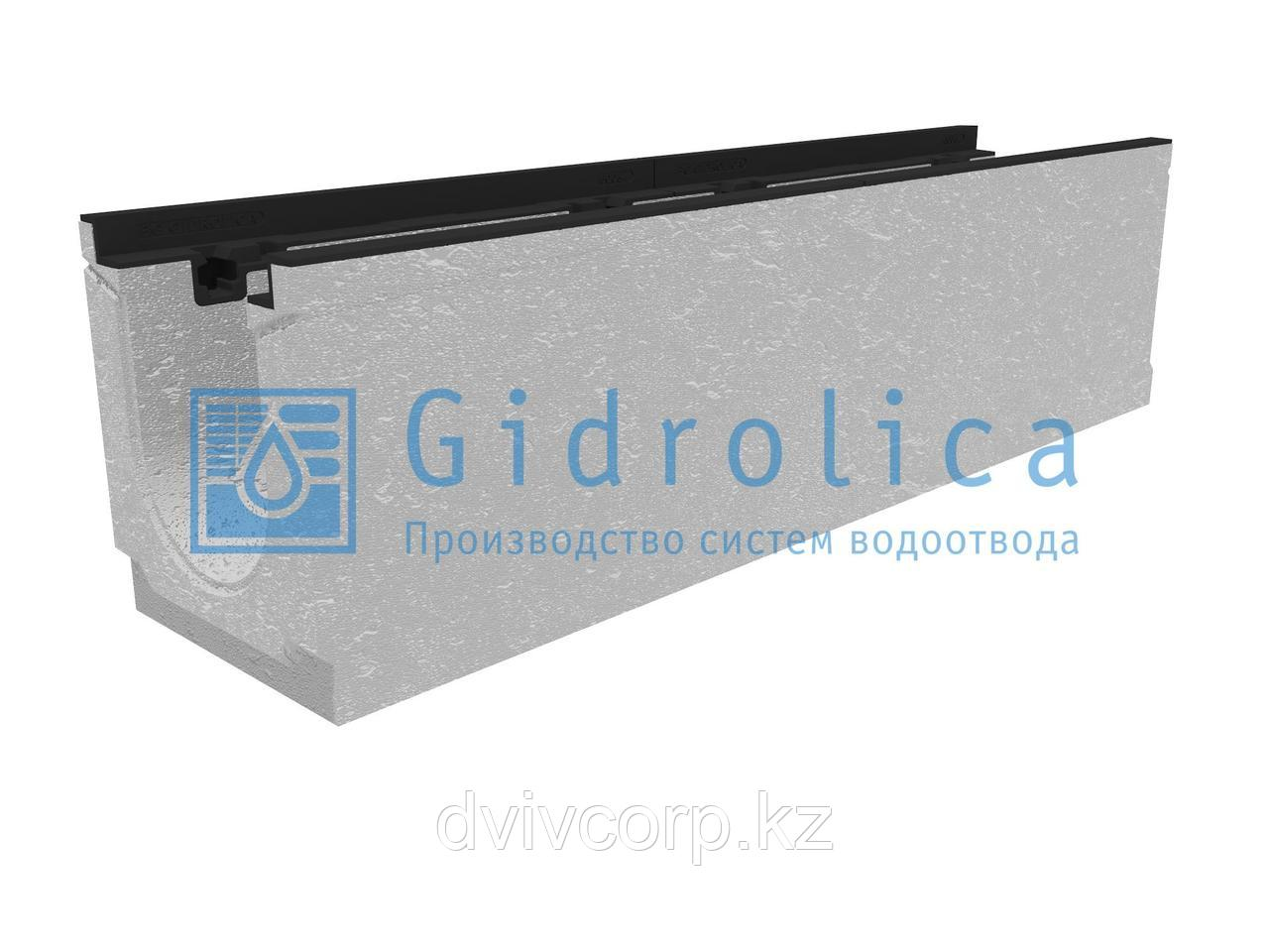 Лоток водоотводный бетонный коробчатый (СО-150мм), с чугунной насадкой, с уклоном 0,5%  КUу 100.24,8