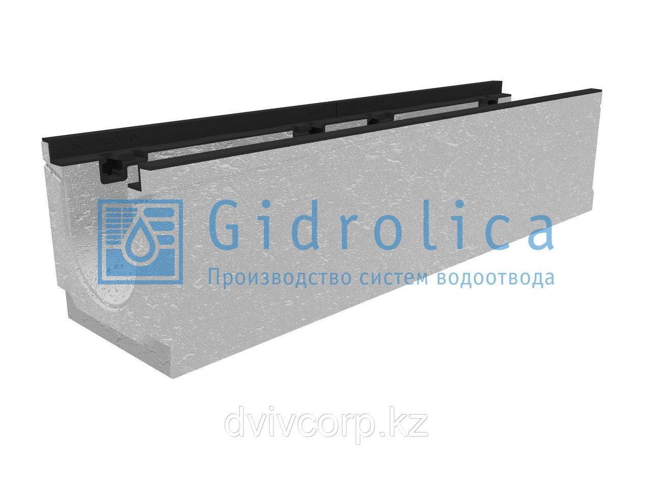 Лоток водоотводный бетонный коробчатый (СО-150мм), с чугунной насадкой, с уклоном 0,5%  KUу 100.24,8