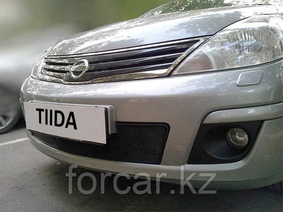 Защита радиатора Nissan Tiida (рестайлинг) Седан 2010 — 2013 black , фото 2