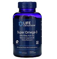 Life Extension, супер омега-3 из рыбьего жира с ЭПК и ДГК, с лигнанами кунжута и экстрактом оливы, 120 мягких