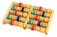 Массажер деревянный с резиновыми роликами