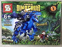 Конструктор Dinosaur 1502B Динозавр синий робот с наездником Вооруженный Дейноних