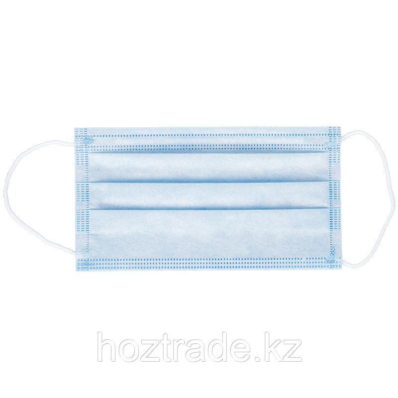 Маска медицинская, набор 50шт. одноразовая OfficeClean 3-х сл. с носовым фиксатором на резинках, пакет