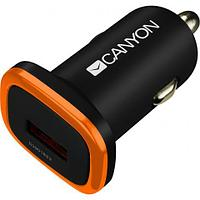 CANYON Universal 1xUSB car adapter, Input 12V-24V, Output 5V-1A, black rubber coating with orange