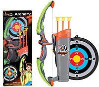 Игрушечный лук с подсветкой и стрелами для детей.