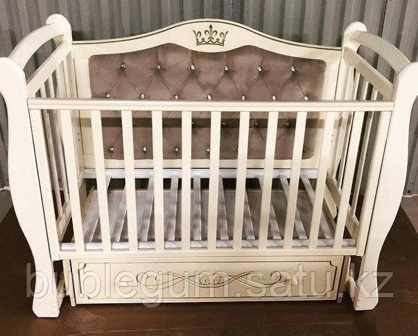"""Кровать детская """"Julia-111"""" Корона с мягкой стенкой, маятником и ящиком без гравировки"""