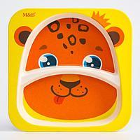 Тарелка детская из бамбука «Леопард», 2 секции