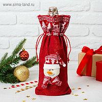 Одежда на бутылку «Снеговик колпак и шарф с рисунком», на завязках