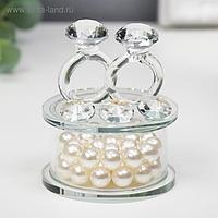 """Сувенир стекло """"Два кольца - предложение"""" жемчуг 7,2х6,3х6,3 см"""