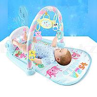 Развивающий коврик для малышей с ростомером музыкальной игрушкой подставкой 81х56