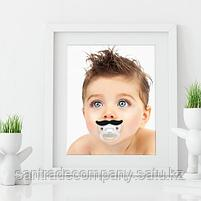 Cоска-пустышка Happy Baby силиконовая  ортодонтическая (Усики,Губы), фото 3