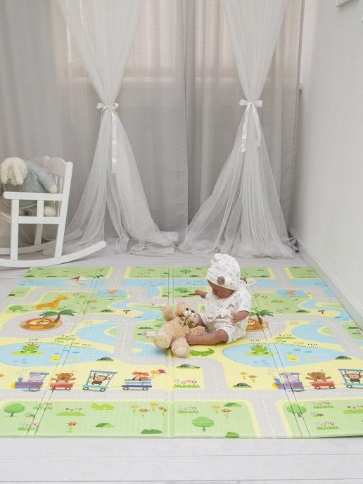 Детский двусторонний игровой развивающий коврик, складной, 180х160х1 см - фото 1