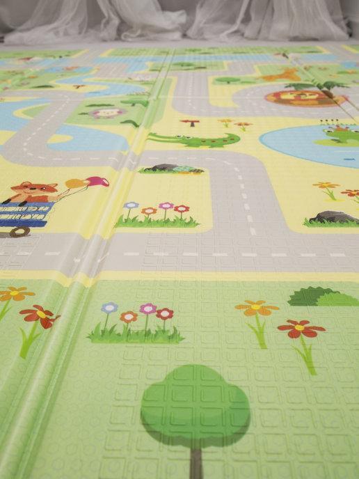 Детский двусторонний игровой развивающий коврик, складной, 180х160х1 см - фото 5