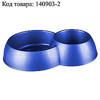 Миска для кошек и собак двойная М3941 синяя