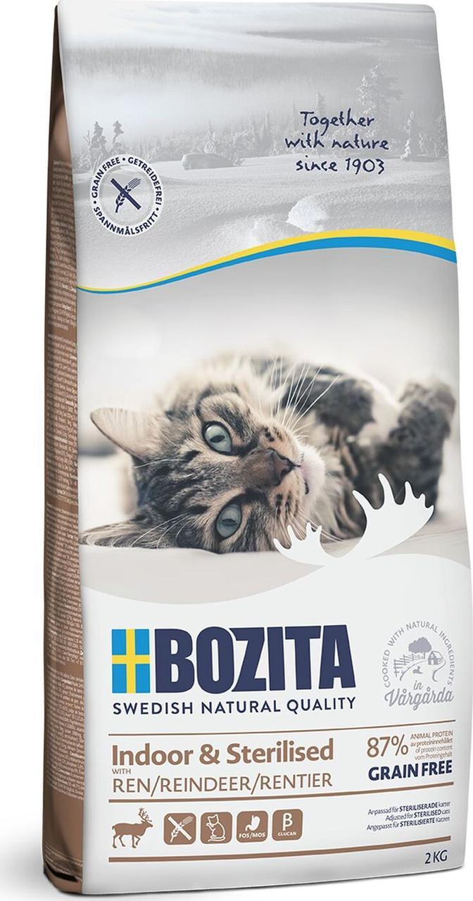 Bozita Indoor& Sterillized Grain Free для домашних, стерилизованных кошек и кастрированных котов, с оленем