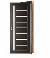 Межкомнатные двери Doren М102/4 черное стекло Лиственница белая, 600