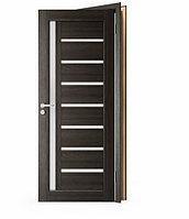 Межкомнатные двери Doren М102/4 черное стекло Лиственница белая, 900