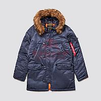 Куртка-парка Alpha Industries SLIM FIT N-3B, натуральный мех (Steel Blue/Orange)
