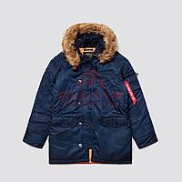 Куртка-парка Alpha Industries SLIM FIT N-3B, натуральный мех (Replica Blue/Orange), фото 1