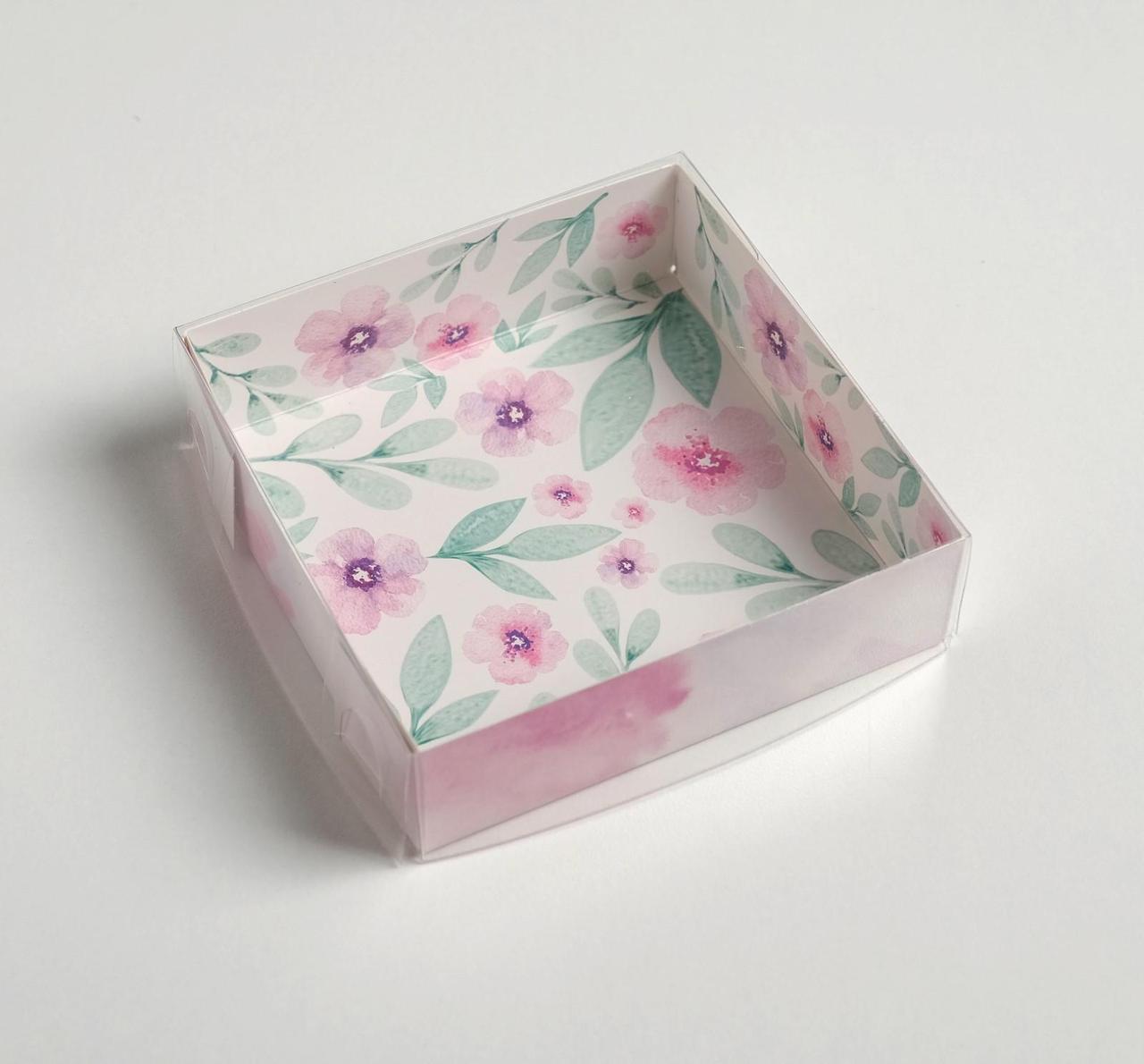 Коробка для кондитерских изделий с PVC крышкой «Весенний подарок», 12 х 12 х 3 см