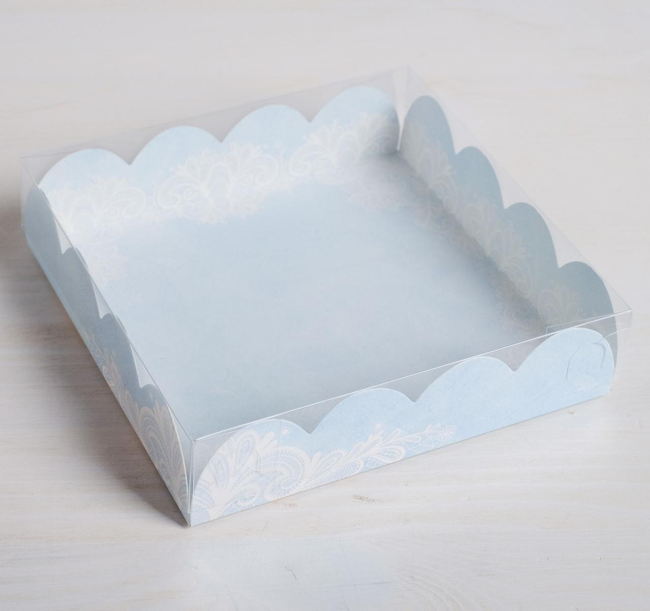 Коробка для кондитерских изделий с PVC-крышкой «Сделано с любовью», 13 × 13 × 3 см