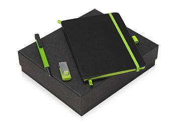 Подарочный набор Q-edge с флешкой, ручкой-подставкой и блокнотом А5, зеленый