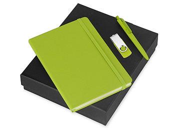 Подарочный набор Vision Pro Plus soft-touch с флешкой, ручкой и блокнотом А5, зеленый