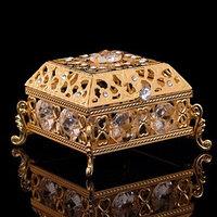 Шкатулка 'Грация', с зеркалом, 5,8x5.8x4.4 см, с кристаллами Сваровски