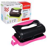 Дырокол на 10 листов пластиковый, deVENTE Monochrome, с линейкой, цвет чёрный/неон розовый