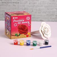Роспись по гипсу «Роза» краска 3 цв по 2,5 мл, кисть