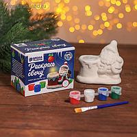 Набор для творчества свеча под раскраску «Дед мороз с мешком» краски 4 шт. по 3 мл, кисть