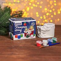Набор для творч свеча парная под раскраску «Веселый Дед Мороз» краски 4 шт. по 3 мл, кисть