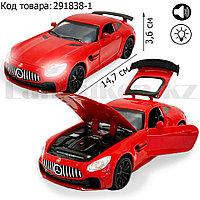 Игрушка детская машинка металлическая с свето-звуковым эффектом Die-Cast Metal Model Car 1:32 Mini красная