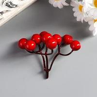 Декор для творчества 'Ветка с ягодами рябины 9 ягод' набор 6 шт 5,6 см