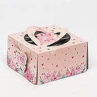"Кондитерская упаковка, ""Бабочки"", пудровый, короб, 1 кг, 21 х 21 х 12 см"