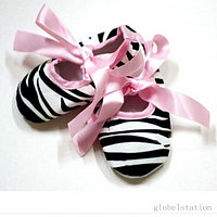 Пинетки зебра на розовой ленте