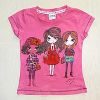 Футболка розовая Три девочки (3-4 года)