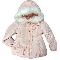 Куртка розовая с опушкой и бантом на 5-6лет
