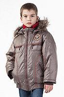 Куртка зимняя Эштон серо-коричневая, 122см