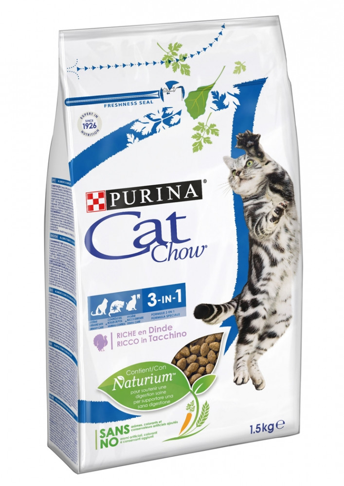 Cat Chow 3в1, индейка, уп.1,5 кг